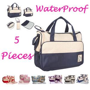 5 Pcs Baby Changing Diaper Nappy Bag Mum Handbag Multi-functional Bottle Holder