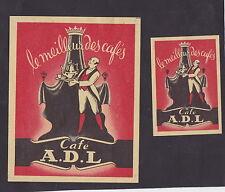 Anciennes étiquettes allumettes Belgique BN24262 Café A.D.L. Homme