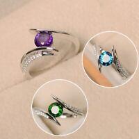 Mode Luxus 925 Silber Süß Grün Violett Stein Ring@yLu#YJS flYfE