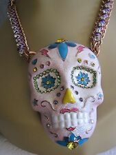 BETSEY JOHNSON SUGAR CRITTERS LARGE PINK GLITTER SKULL STATEMENT NECKLACE~NWT