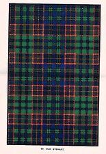 "Johnston's ""Scottish Clans & Tartans"" - ""OLD STEWART"" - Chromolithograph - c1890"