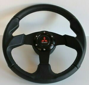 Steering Wheel fits Mitsubishi Leather 3000GT Lancer Galant Pajero Evo Eclipse L