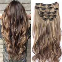 12Style Lady Full Head Clip in Hair Extensions Synthetic Thick Long Hairpieces t