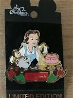 HTF LE OLD Disney Pin DLR AP Dining Series Belle Mrs. Potts Lumiere Cogsworth