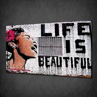 BANKSY LIFE IS BEAUTIFUL GRAFFITI CANVAS PRINT STREET ART PICTURE FREE UK P&P