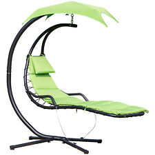Floating Chaise Lounge Hanging Swing Chair Arc Stand w/ Canopy