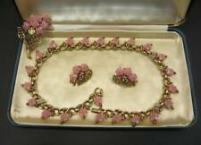 Crown TRIFARI Necklace & Earrings 1950's Orig Box Pink Flowers Gold Tone