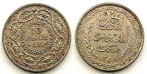 Túnez- 10 Francos 1939.  París. Protectorado francés. EBC/XF Plata 10 g.