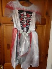 HALLOWEEN ZOMBIE BRIDE/WITCH COSTUME WITH WIG SIZE 7-8 Years
