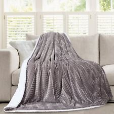 Hiyoko 3D Micromink Flannel Sherpa Super Soft Throw Blanket 60 X 80 Gray