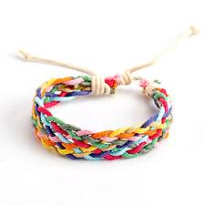 Braided cotton Cord Colourful Wristband Mens Womens Friendship Bracelet FREEPOST