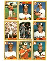 1987 Topps Tiffany Orioles team set with Ripken, Ripken All Star, Murray, Weaver