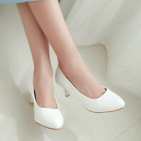 Womens Fashion Spring Kitten Mid Heel Pointed Toe Pumps Shoes UK Size 1--10 D502