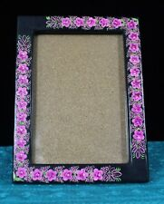 Large Black & Pink Lacquer Picture Frame Horizontal or Vertical Mexico Folk Art