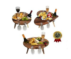 Wooden Folding Pinic Table - Holds 4 Wine Glass & 1 Wine Bottle for Outdoor