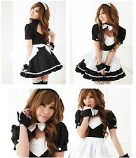 Black Cute Sex Maid Fancy Party Dress For Halloween Costumes Cosplay Uniform H05