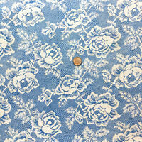 """Vintage Partial Feed Sack White Fancy Roses on Blue w/White Background 21"""" x18"""""""