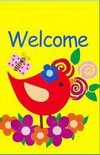 """Small Garden Flag - Welcome - Bird & Butterfly - TrueLiving - 12"""" x 18"""" (420)"""
