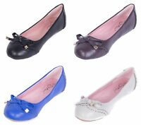 Women Ballerina Flats Ballet Slip-Ons Loafers Shoes /w Metal-Tipped Bow Buckle