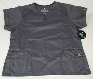 Wonderwink Seven Flex V Neck Scrub Top XXL 2XL, GRAY,  NWT and Free Shipping