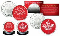 CANADA 150 ANNIVERSARY Royal Canadian Mint Colorized Medallions 2-Coin Set - RED