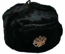 RUSSIAN MILITARY COSSACK KGB BLACK FUR MENS WOMENS USHANKA  HAT SIZE 62 (7 3/4)