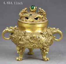 Old collectable rare handmade exquisite decoration copper incense burner dragon