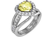 1.6 ct GIA fancy intense yellow SI1 heart diamond engagement ring 18k white gold