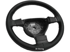 BLACK PERFORATED LEATHER STEERING WHEEL COVER FOR NISSAN MICRA K12 WHITE STITCH