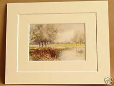 DEDHAM FROM THE STOUR ESSEX RARE VINTAGE DOUBLE MOUNTED PRINT c1920 10 X 8