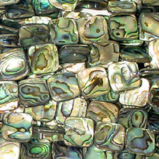 14MM ABALONE FLAT SQUARE BEADS AA++ NATURAL BLUE GREEN SHELL
