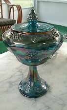 CARNIVAL INDIANA GLASS  BLUE HARVEST GRAPE COVERED COMPOTE CANDY DISH