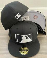 New Era Cap 59FIFTY Baseball Generic LOGO BLACK WHITE Hat Fitted 5950 MLB