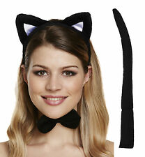 Cat Set Fancy Dress Animal Ears with Tail and Bow Party Adult Halloween