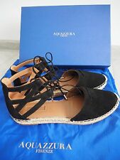 Aquazzura Women's Black Belgravia Suede Espadrilles Sandals in size UK 7
