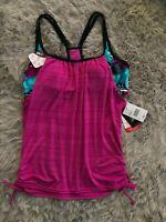 ZeroXposur Swimwear Maui Tankini Layered Look Top New With Tags