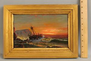 Antique JAMES HAMILTON American Maritime Sunset Shipwreck Seascape Oil Painting
