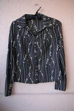 Schwarze Bluse mit Streifen-/Blumen-Muster von Esprit, Größe L