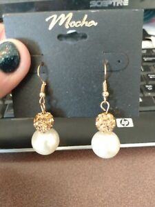 Mocha gold dangle earrings with pearl bead and amber colored crystals