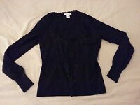 Womens White House Black Market Silk Sweater Jacket M Medium Black