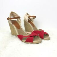 BCBGeneration 7.5 B Womens Red Beige Canvas Ankle Strap Wedge Sandals