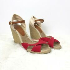 264bc5a464fb BCBGeneration 7.5 B Womens Red Beige Canvas Ankle Strap Wedge Sandals