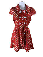 Absolutely & Faith Size L Red & White  Dotted Fitted N Flare Dress Big Buttons