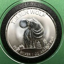 Timber Wolf Maple Leaf NOT CANADIAN 1 Troy Oz .999 Fine Silver Coin Round Medal