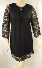 City Chic Black Lace 3/4 Sleeve Woodstock Love Dress Plus Size XS 14 BNWT #P80