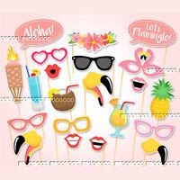 21PCS Flamingo Photo Booth Props Tropical Hawaiian Summer Hen Party Night Games