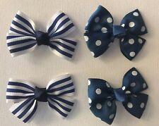 Girls Toddler Hair Bow Pack - Alisha - 4 pieces - Blue Stripe / Blue Polkadot