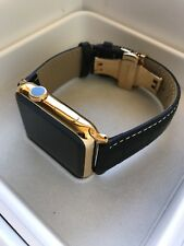24K Gold Plated 42MM Apple WATCH Series 2 Black Band Deploy Buckle