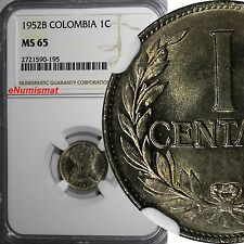 COLOMBIA 1952-B 1 Centavo NGC MS65 1 GRADED HIGHER KM# 275a