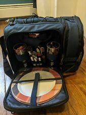 Picnic Set with cooler storage, plates, flatware, wine glasses